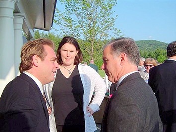 Director Heath Eiden talks with Vermont Governor Howard Dean